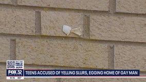 Teens accused of yelling slurs, egging home of gay man