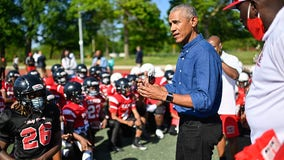 Former President Obama surprises youth football team in Chicago