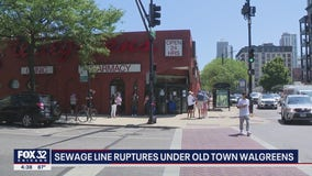 Sewage line ruptures under Old Town Walgreens