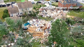 Drone video shows tornado damage in Chicago suburbs