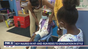 Chicago boy injured in hit-and-run rides to preschool graduation in style