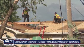 Roads remain closed and community steps up to help families after EF-3 tornado hits Chicago suburbs
