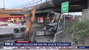 Semi carrying fireworks rolls over, catches fire on Tri-State Tollway