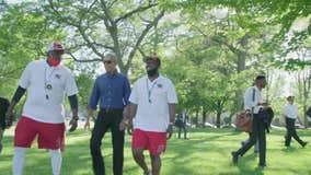 Former President Obama visits Jackson Park in Chicago