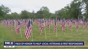 Hundreds of flags at LaGrange park raising money for veterans, first responders