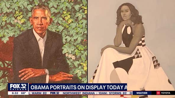 The Obama portraits are on display at the Art Institute of Chicago
