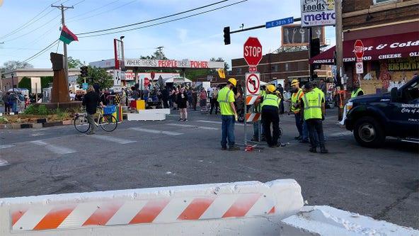 City crews remove barriers around George Floyd Square, activists restore them
