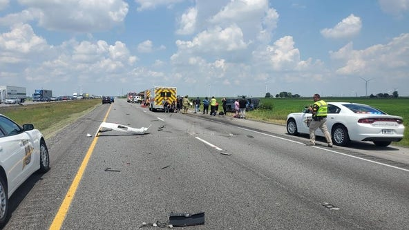At least 1 dead after vehicle hits Greyhound bus on I-65 in White County, Indiana