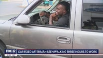 Chicago area man who walked 6 hours a day to and from work gets car fixed