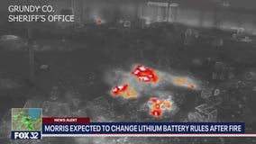 Drone video reveals lithium batteries in Morris fire