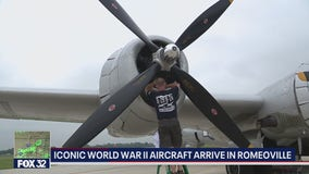 World War II aircraft arrive in Romeoville, Illinois