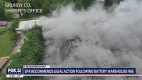 Battery warehouse fire worsens, Illinois EPA recommends legal action