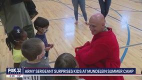 Army sergeant surprises kids at Mundelein summer camp