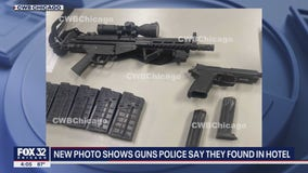 Photo shows guns found in Chicago hotel room booked by Iowa man
