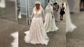 94-year-old grandmother tries on wedding dress for 1st time