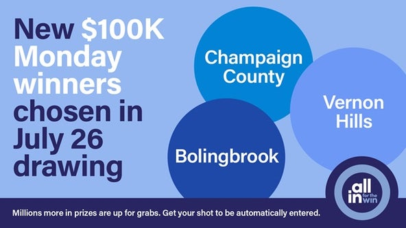 Illinois announces $100K 'All In for the Win' winners in Bolingbrook, Champaign County, Vernon Hills