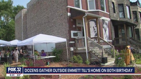Dozens gather outside Emmett Till's Chicago home on 80th birthday
