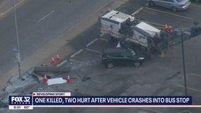 1 killed, 2 injured in Calumet City bus stop crash