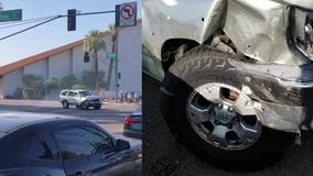 Woman loses control of her car in Phoenix crash, sending it in circles