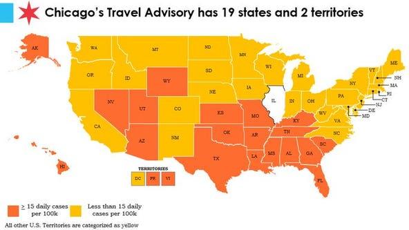 5 states, Puerto Rico added to Chicago travel advisory