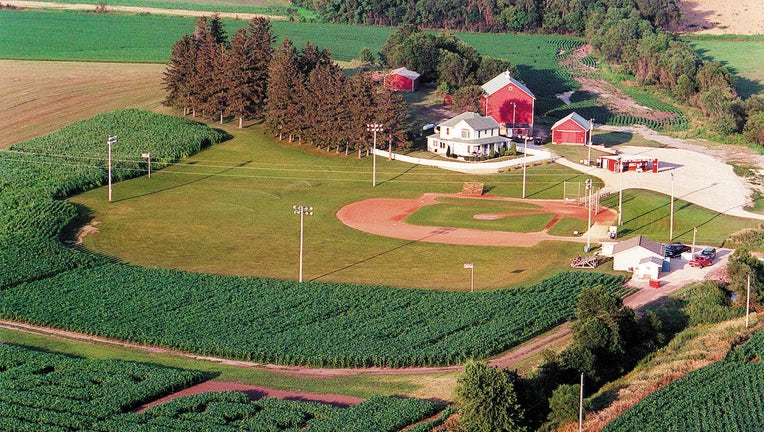 """An aerial view of the famous """"Field of Dreams"""" in Dyersville, Iowa. (Phil Velasquez/Chicago Tribune/TNS)"""