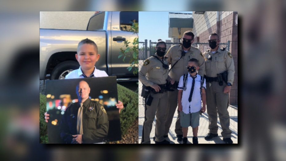 LVMPD escorts late officers kid to school