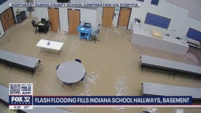 Video shows dramatic flooding at Indiana school