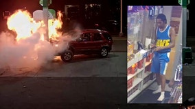 WATCH: Detroit police seek driver who crashed into gas pump while doing donuts, causing explosion and fire