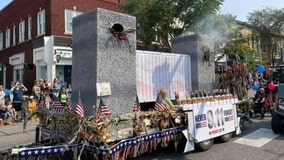 VIDEO: Republican float in Indiana parade shows model of smoking World Trade Center twin towers