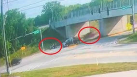 Video shows SUV striking motorcycle in Kane County and then fleeing the scene