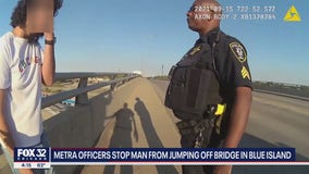 Two Metra police officers stop man from jumping off bridge in Blue Island