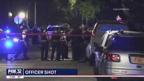 Two people in custody after Chicago Police officer is shot in South Shore