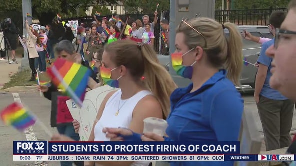 Students protest after lacrosse coach is fired, apparently because she is married to a woman