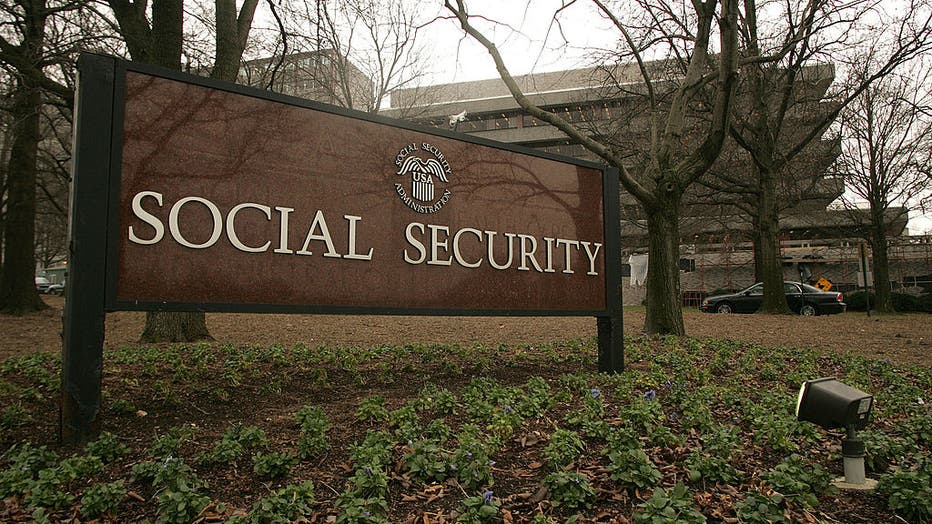 A sign marks the entrance to the headquarters of the Social