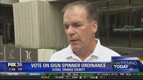 Vote on sign spinner ordinance