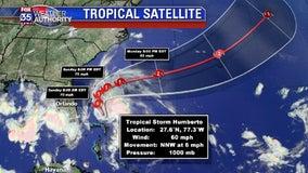 Tropical Storm Humberto gaining strength, staying off Florida coast