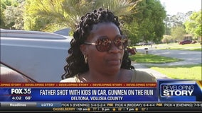 Father shot with kids in car, gunmen on the run