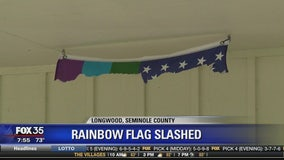 Rainbow flag slashed