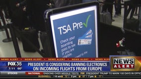 President is considering banning electronics on incoming flights from Europe