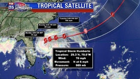 Humberto expected to strengthen into a hurricane, stays offshore