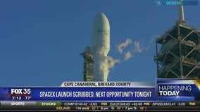 SpaceX launch scrubbed, next opportunity tonight