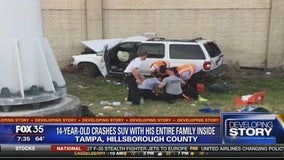 14-year-old crashes SUV with his entire family inside