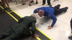US Army Vietnam veteran nurse, 84, challenges TSA agent to 10 push-ups before Honor Flight