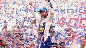 Chase Elliott wins playoff race at Charlotte in scorching heat