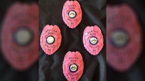 Officers in Georgia wear pink badges to commemorate Breast Cancer Awareness Month