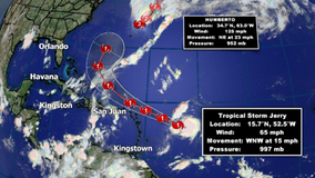 Tropical Storm Jerry nearing hurricane strength, expected to steer clear of Florida