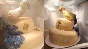 Peacock-themed wedding cake leaves bride furious after baker drops it off: 'Lopsided turkey with leprosy'
