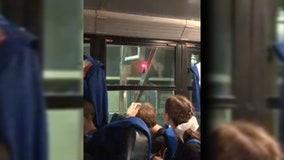 Second Orange County school bus caught on railroad tracks