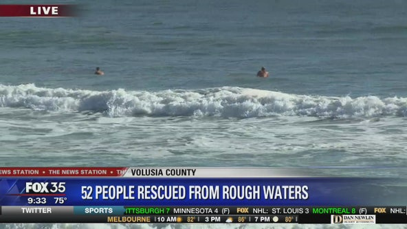 52 people rescued from rough waters