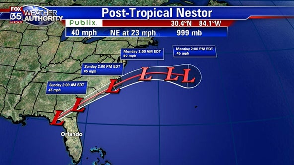 Nestor moves across Florida panhandle, through Georgia bringing heavy rain